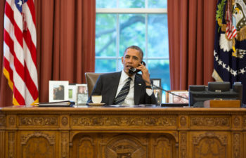 President Barack Obama talks with President Hassan Rouhani of Iran during a phone call in the Oval Office, Sept. 27, 2013. (Official White House Photo by Pete Souza)  This official White House photograph is being made available only for publication by news organizations and/or for personal use printing by the subject(s) of the photograph. The photograph may not be manipulated in any way and may not be used in commercial or political materials, advertisements, emails, products, promotions that in any way suggests approval or endorsement of the President, the First Family, or the White House.