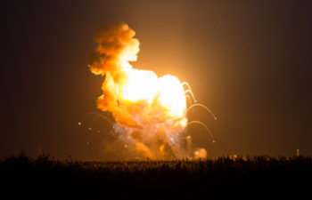 The Orbital Sciences Corporation Antares rocket, with the Cygnus spacecraft onboard suffers a catastrophic anomaly moments after launch from the Mid-Atlantic Regional Spaceport Pad 0A, Tuesday, Oct. 28, 2014, at NASA's Wallops Flight Facility in Virginia. The Cygnus spacecraft was filled with about 5,000 pounds of supplies slated for the International Space Station, including science experiments, experiment hardware, spare parts, and crew provisions. Photo Credit: (NASA/Joel Kowsky)
